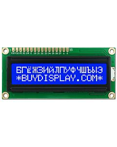 16x2 Russian-Cyrillic Character LCD Module,White on Blue,3.3V-5V