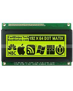 3.3 inch Graphic LCD Display 192x64 Arduino Module,Black on YG