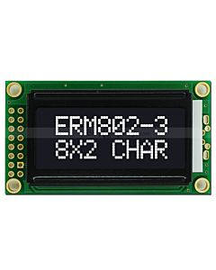 3.3V/5V Parallel Character LCD 8x2,White on Black Color,High Contrast