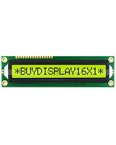 Character LCD 16x1 Display Module with Datasheet in PDF,Black on YG