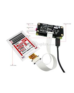 Connect Red 2.7 inch e-Ink Display to Raspberry Pi Hat
