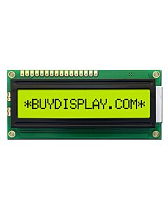 LCD Display 16x1 Datasheet in PDF,HD44780 Controller,Black on YG