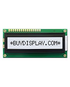 LCD Module 16x1 Display,Pin Configuration,Wide Angle,Black on White