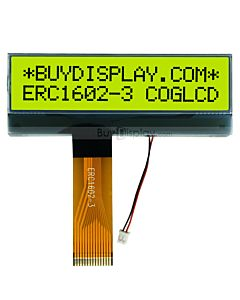 LCD Module 2x16 Character Display COG,FPC Connection,Black on YG