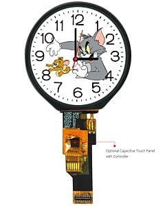圆形1.28英寸TFT液晶显示屏/240x240分辨率/全视角/GC9A01A/可配套电容屏/可用于电子手表