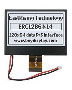 2.7英寸COG/128x64图形点阵模块/白底黑字/ST7565R/带铁框抗干扰