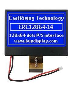 2.7英寸COG/128x64图形点阵模块/蓝底白字/ST7565R/带铁框抗干扰