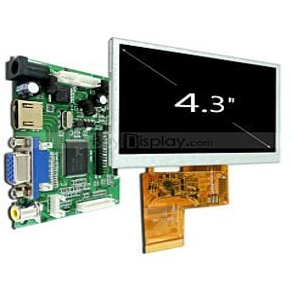 4.3寸全视角TFT彩色液晶显示模块配液晶屏驱动板/Video+VGA+HDMI接口