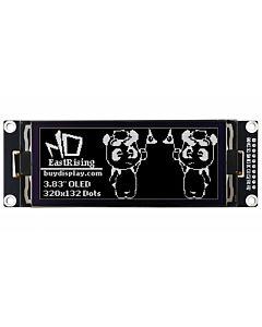 白色3.83英寸OLED显示模块/配转接板/320x132分辨率/SPI/16级灰阶/SSD1320/可配套Arduino/Raspberry PI
