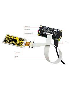 2.13英寸电子墨水屏白底黄字212x104分辨率配套树莓派转接板