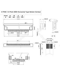 4 Pin 1.0mm Pitch Bottom Contact  ZIF Connector,FPC Connector