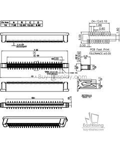 SMT贴片16 Pins 0.5mm间距立式正脚FPC连接器,连接插座