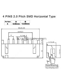 4 Pins 2.0mm Pitch SMD Horizontal Backlight Connector
