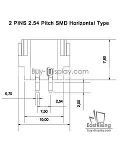 2 Pins 2.54mm Pitch SMD Horizontal Backlight Connector