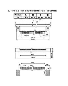 SMT贴片抽屉式30 Pins 0.5mm间距卧贴上接FPC连接器,连接插座