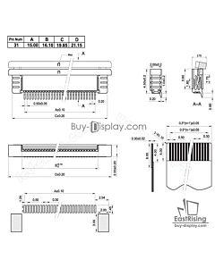 SMT贴片抽屉式31 Pins 0.5mm间距卧贴上接FPC连接器,连接插座