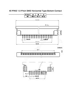 40 Pin 1.0mm Pitch Bottom Contact  ZIF Connector,FPC Connector