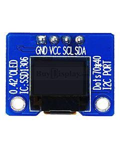 白色0.42寸OLED显示屏/显示模块/72x40点阵/IIC接口/可配套ARDUINO/Raspberry PI