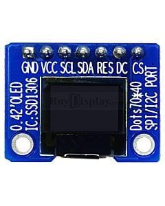 白色0.42寸OLED显示屏/显示模块/72x40点阵/IIC/SPI接口/SSD1306/ARDUINO/Raspberry PI