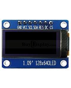 1.09英寸OLED显示屏配转接板/白光/64x128分辨率/CH1115/可配套Arduino/Raspberry Pi