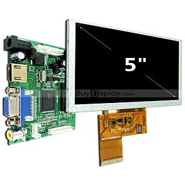5寸TFT LCD彩色液晶显示模块配液晶屏驱动板/Video+VGA+HDMI接口