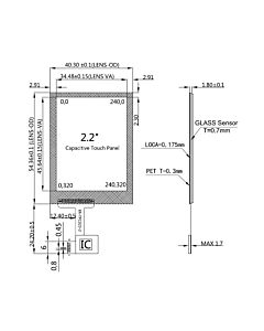 2.2 inch Capacitive Touch Panel Screen with Controller FT6236