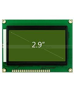 2.9寸LCD12864液晶屏/LCM128x64图形点阵模块/黄绿底蓝黑字/中文字库