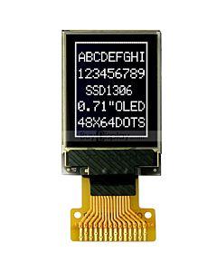 白色0.71寸OLED显示屏/显示模块/48x64点阵/I2C串口