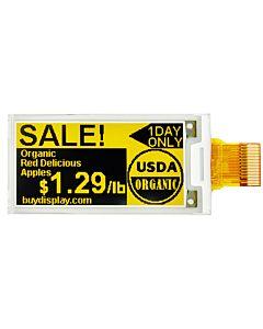 2.13寸超薄黑黄双色电子纸/E-Paper/E-Ink/104x212点阵/SSD1675A